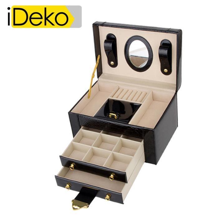 ideko coffret bijoux pu cuir 3 tages noir jolie bo te bijoux achat vente boite a bijoux. Black Bedroom Furniture Sets. Home Design Ideas