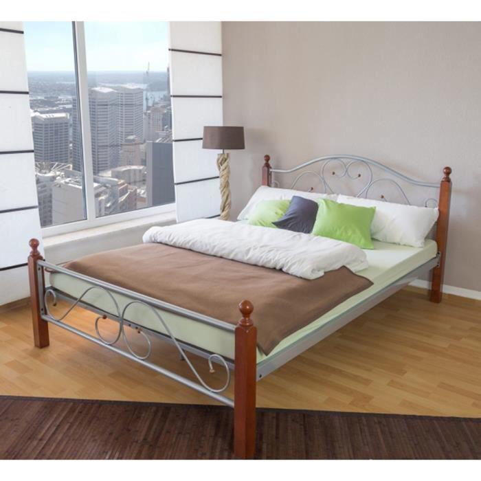 lit en m tal argent marron 180 x 200 cm achat vente lit a baldaquin lit en m tal argent. Black Bedroom Furniture Sets. Home Design Ideas