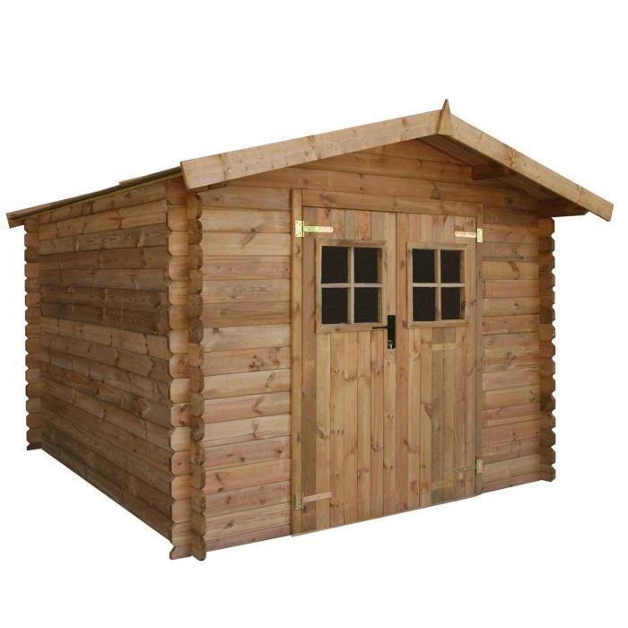 Abri de jardin en bois massif 9m trait autocl achat vente abri jardin chalet abri de for Abri de jardin en bois la redoute