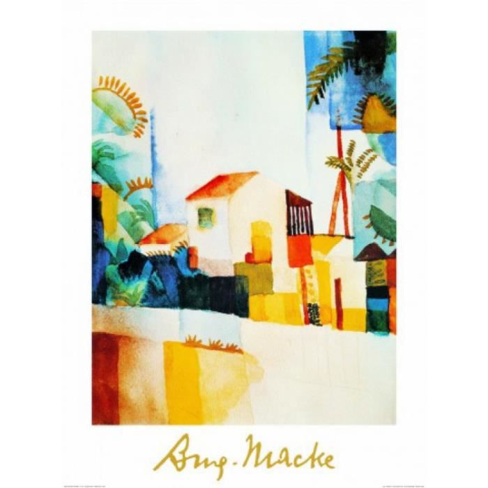 August macke poster reproduction maison clair e 80 x for Decoration murale eclairee