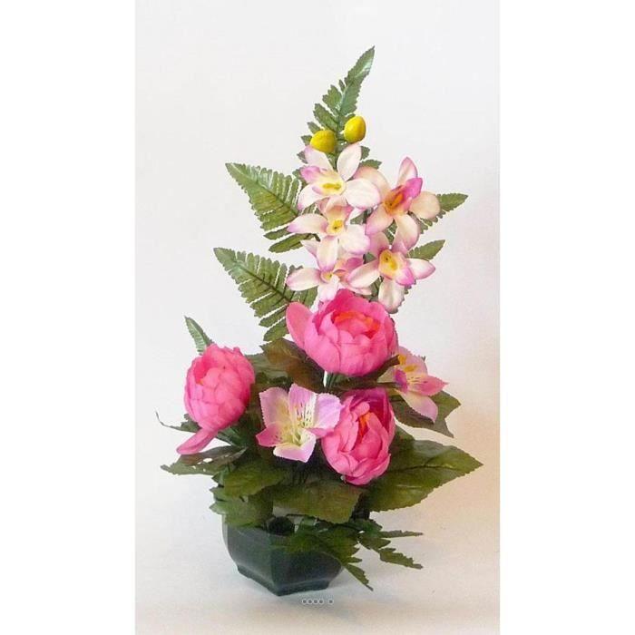 Composition vasque pivoine et lys lestee pour exterieur h for Vasque pot de fleur