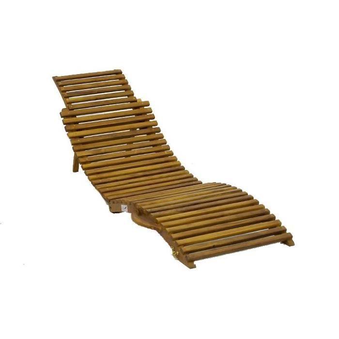 Transat lit pliant ergonomique bois de teck massif achat for Transat en bois pliable