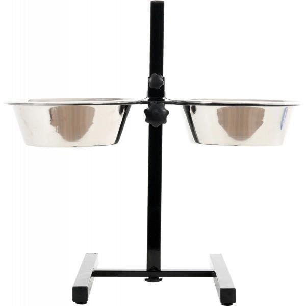 support porte gamelles 2 75l r glable en hauteur 2 gamelles pour chien achat vente gamelle. Black Bedroom Furniture Sets. Home Design Ideas