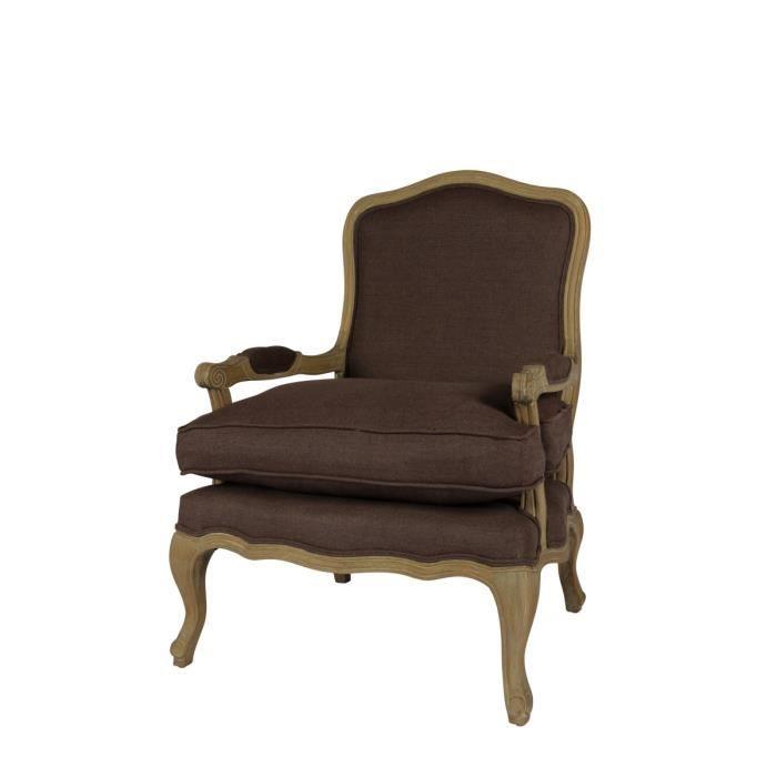 maison fauteuil pouf poire bergere marron taupe en chene et lin marq f  auc