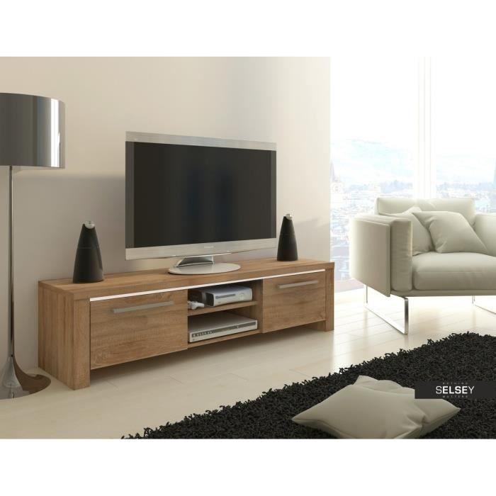 Meuble tv alex ch ne avec led achat vente meuble tv for Meuble tv avec led