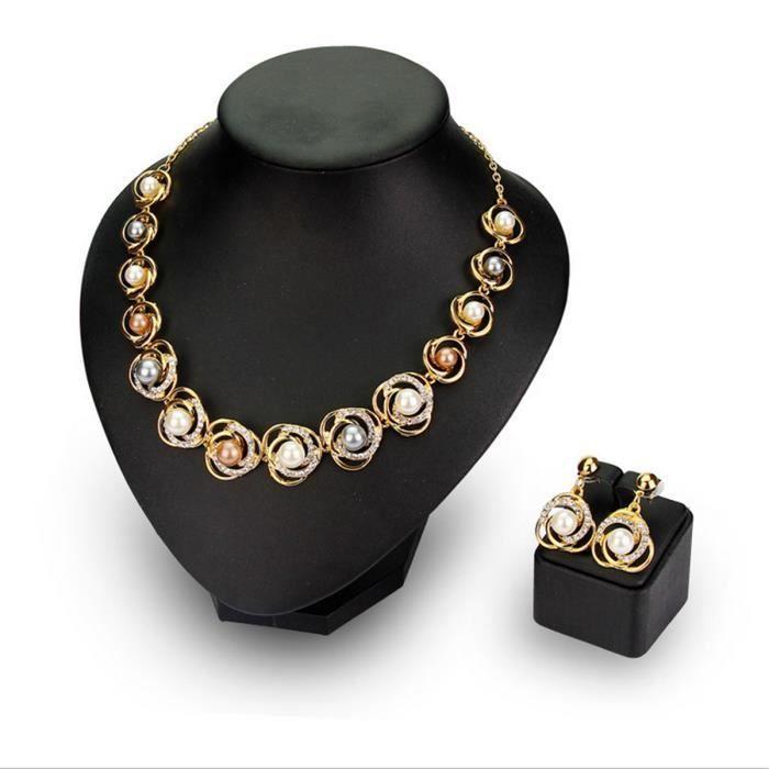 parure perles boucle d 39 oreille collier pendentif cristal strass bijoux mariage achat vente. Black Bedroom Furniture Sets. Home Design Ideas