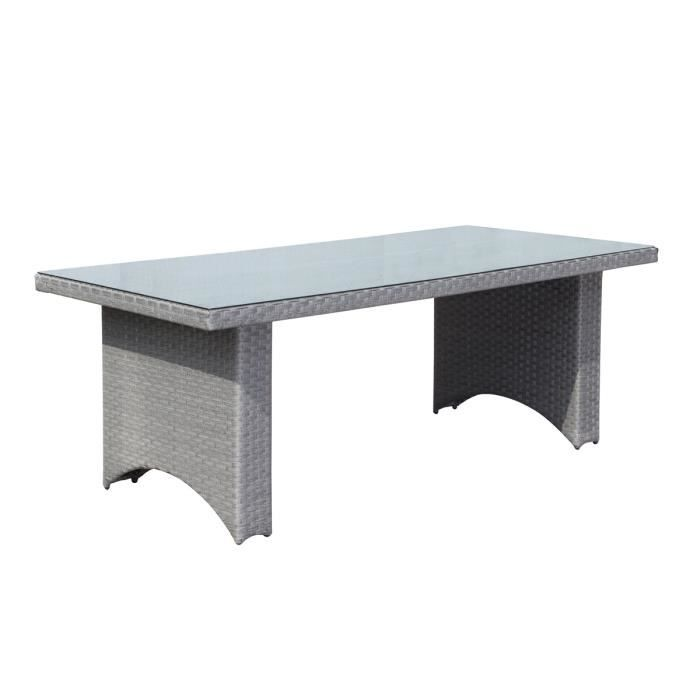 Table Rectangulaire Alu Rattan Barbados Grise 210 X100
