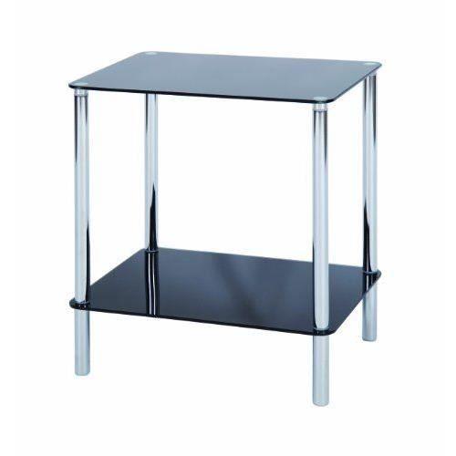 levv table d 39 appoint carr e avec 2 tag res noir chrome import grande bretagne achat vente. Black Bedroom Furniture Sets. Home Design Ideas