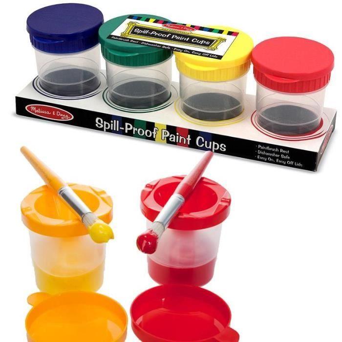 4 pots pour peinture enfants anti renversement pot pour essorer les pinceaux achat vente - Pot de peinture prix ...
