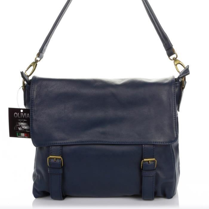 Sac A Main Bleu Marine Marron : London sac ? main cuir bleu marine n bandouli?re