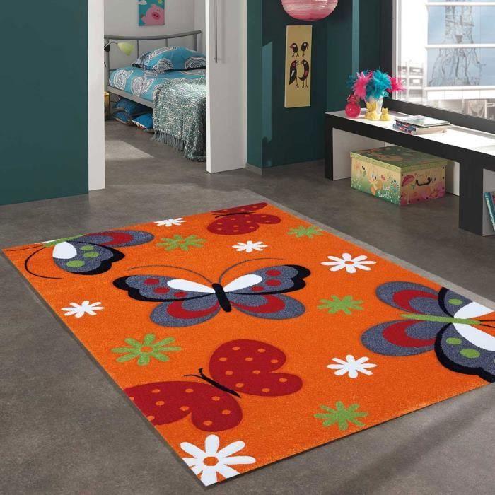 butterfly orange 160x230 par unamourdetapis tapis pour enfant achat vente tapis cdiscount. Black Bedroom Furniture Sets. Home Design Ideas