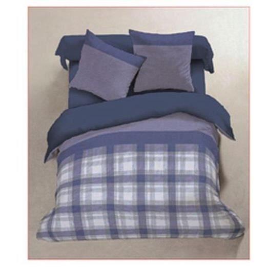parure de lit flanelle 140 x 190 cm mauve bleu achat vente parure de drap cdiscount. Black Bedroom Furniture Sets. Home Design Ideas