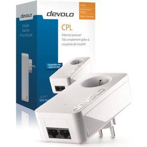 devolo 9291 dLAN 550 Duo+, Prise réseau CPL 500 Mbit/s, 2 ports Fast Ethernet, Prise Filtrée Intégrée, Module complémentaire (x1)