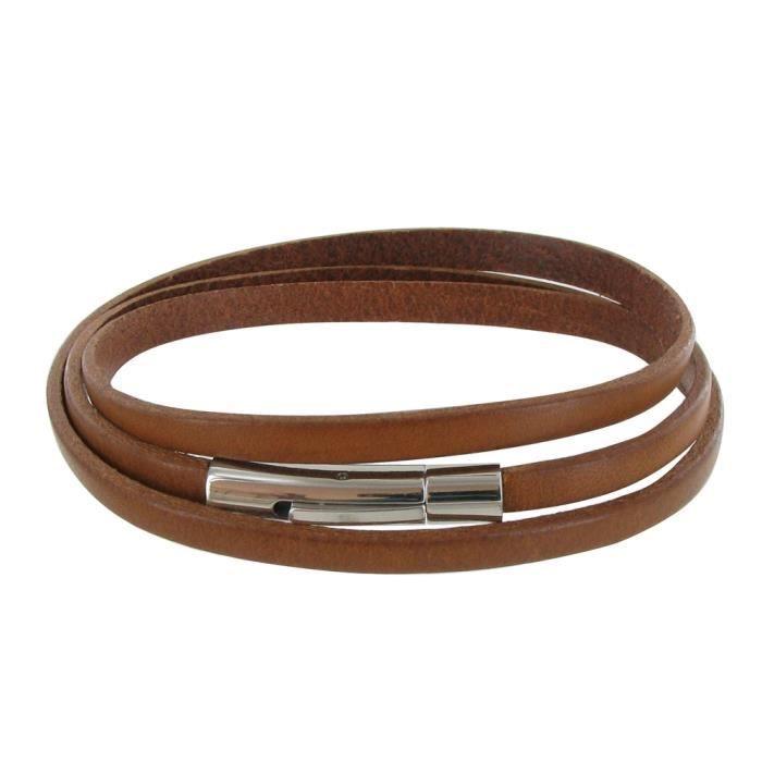 bracelet homme cuir marron clair plat fermoir acier inoxydable achat vente bracelet. Black Bedroom Furniture Sets. Home Design Ideas