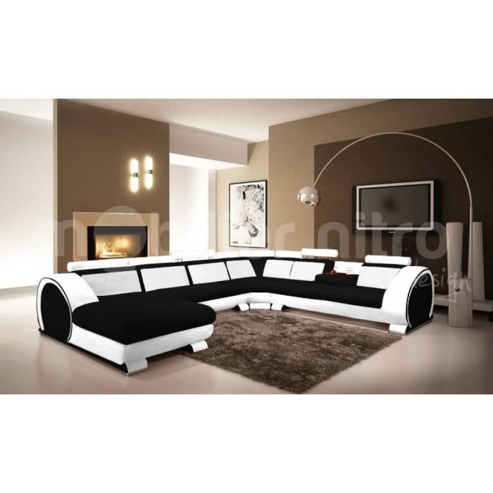 canap panoramique new york assise noire c t b achat. Black Bedroom Furniture Sets. Home Design Ideas