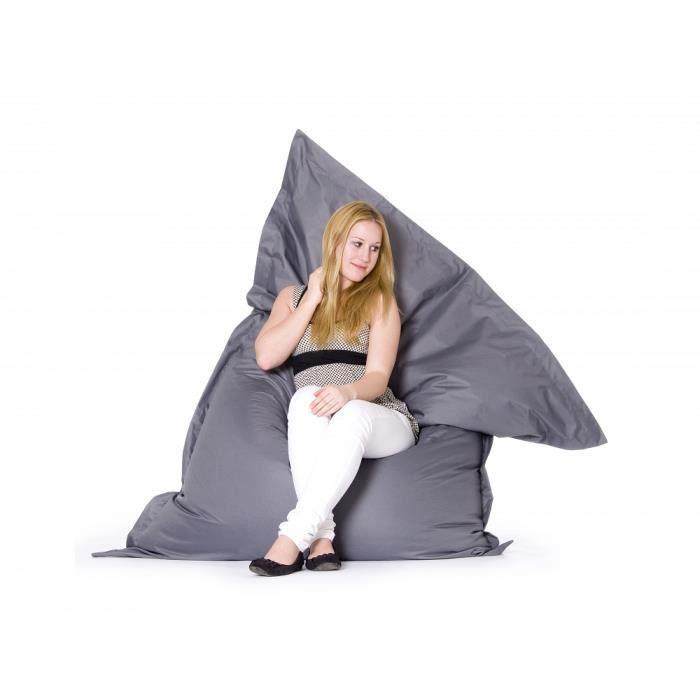 pouf g ant xxl coussin de sol 140x180 cm gris achat vente pouf poire soldes d t. Black Bedroom Furniture Sets. Home Design Ideas