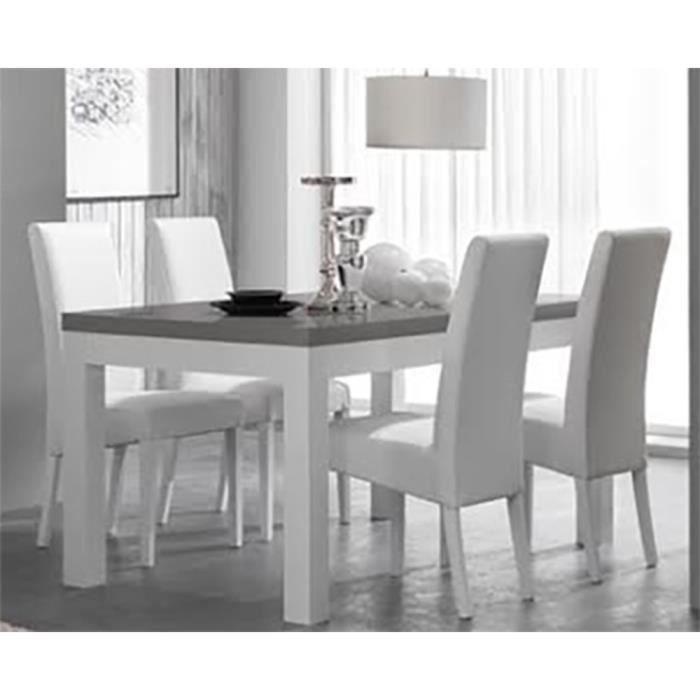 Table de repas fano laque blanc et gris achat vente for Table a manger blanche et grise
