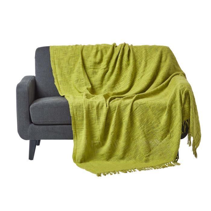 jet de lit ou de canap nirvana 100 coton vert citron 255 x 360 cm achat vente jet e de. Black Bedroom Furniture Sets. Home Design Ideas