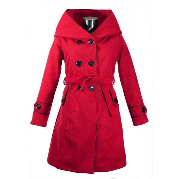 manteau femme grand col capuche rouge achat vente manteau caban cdiscount. Black Bedroom Furniture Sets. Home Design Ideas