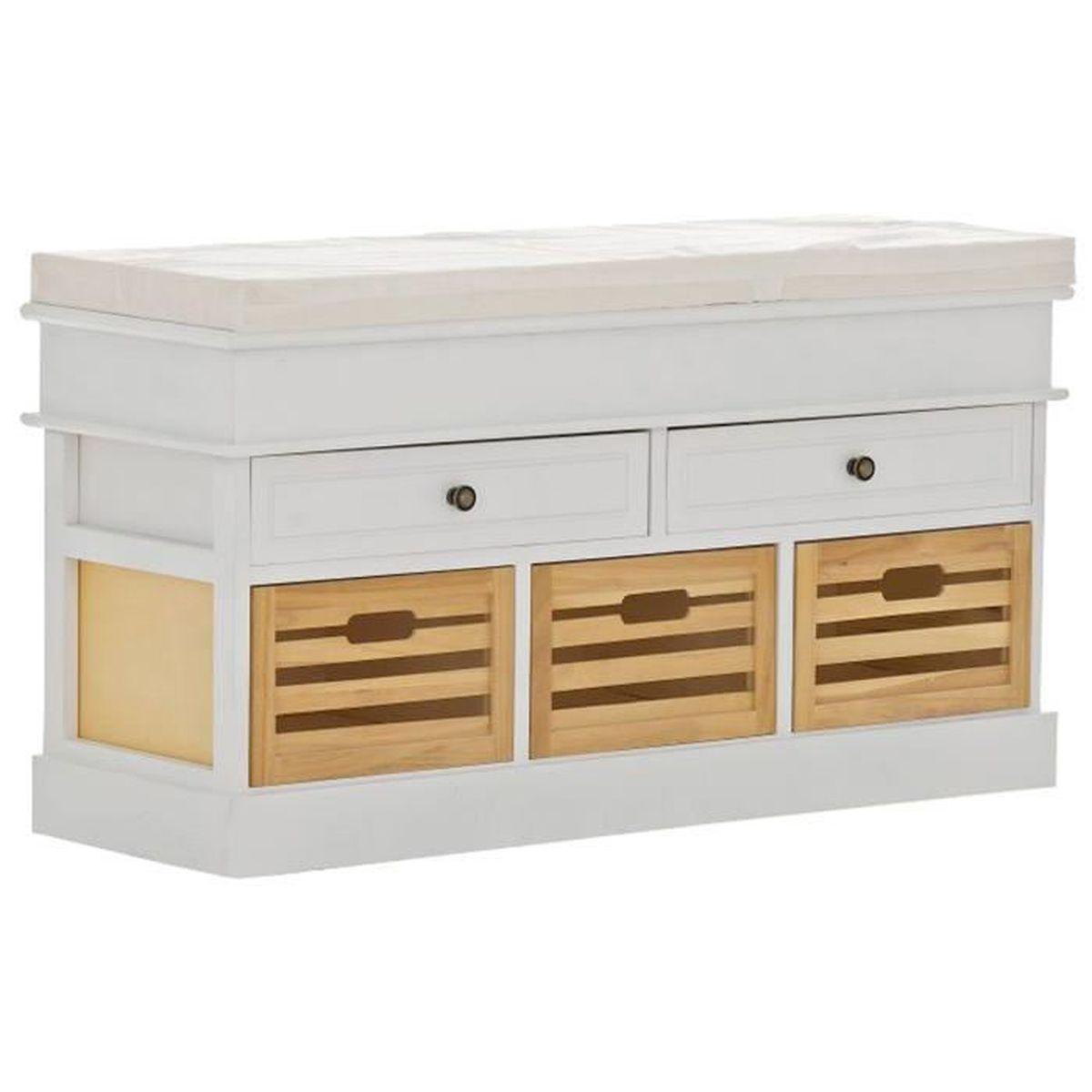 banc en bois avec espace de rangement blanc 55 x 100 x 35 cm achat vente banc cdiscount. Black Bedroom Furniture Sets. Home Design Ideas