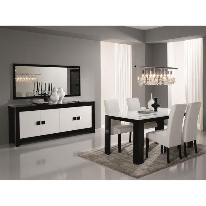salle manger compl te noir et blanc laqu design bianka 2 table buffet l 190 cm achat. Black Bedroom Furniture Sets. Home Design Ideas