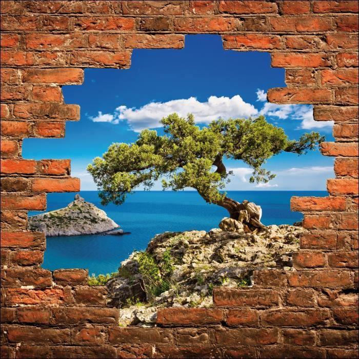 Sticker mural trompe loeil arbre vue sur la mer Dimensions - 90x90cm ...