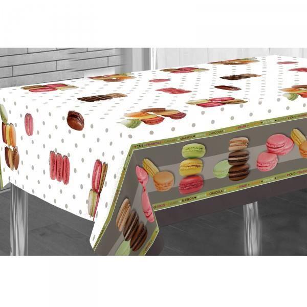 Nappe ovale pois et macaron 2m40 x 1m48 anti ta achat for Nappe de table ovale