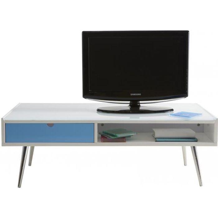 Table basse 1 tiroir 1 niche blanche et bleue domino - Table basse blanche tiroir ...
