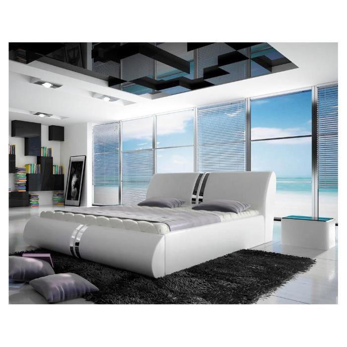 callisto lit rembourr en cuir cologique brun 07 140x200 cm achat vente structure de lit. Black Bedroom Furniture Sets. Home Design Ideas