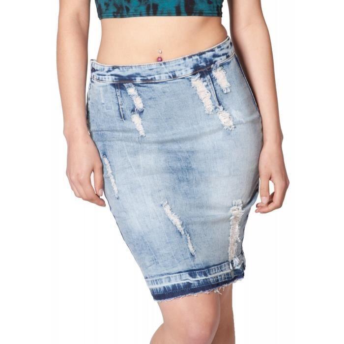 Jupe en jean usée Jupe Denim fem? Bleu Achat / Vente jupe