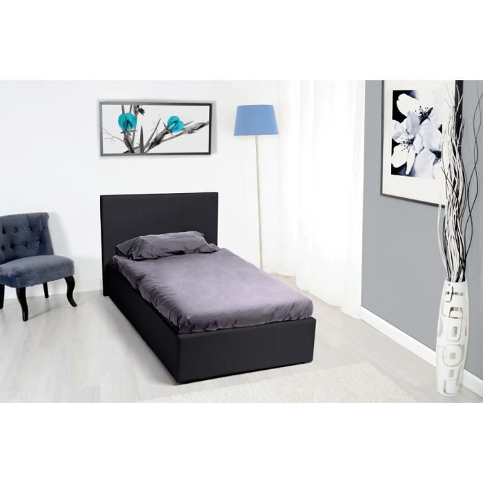 royal lit coffre 90x190 pvc noir avec sommier achat vente structure de lit lit coffre nosk. Black Bedroom Furniture Sets. Home Design Ideas
