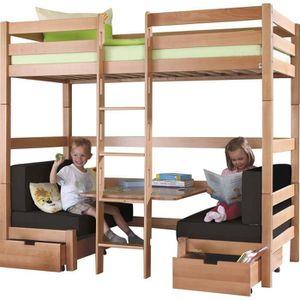 lit superpos bois achat vente lit superpos bois pas cher les soldes sur cdiscount. Black Bedroom Furniture Sets. Home Design Ideas