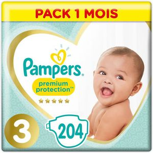COUCHE PAMPERS New Baby T3 - Pack 1 mois - 204 couches