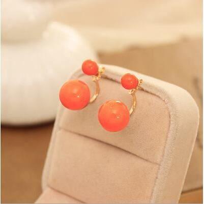 boucles d 39 oreille double perles orange achat vente boucle d 39 oreille boucles d 39 oreille double. Black Bedroom Furniture Sets. Home Design Ideas