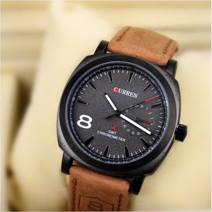 montre homme curren bracelet cuir marron quartz marron achat vente montre soldes d t. Black Bedroom Furniture Sets. Home Design Ideas