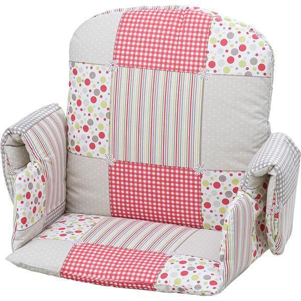coussin de chaise avec rabat tissu patchwork rose achat vente chaise haute coussin de chaise. Black Bedroom Furniture Sets. Home Design Ideas