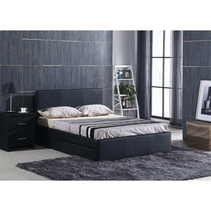 luxe lit adulte avec rangement 140x190cm sommier noir. Black Bedroom Furniture Sets. Home Design Ideas