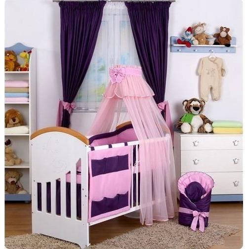 set 9 pcs linge lit b b tour de lit ciel de lit rose. Black Bedroom Furniture Sets. Home Design Ideas