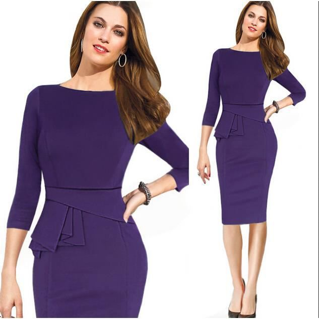 robe femme vetement dame de bureau violet achat vente robe cdiscount. Black Bedroom Furniture Sets. Home Design Ideas