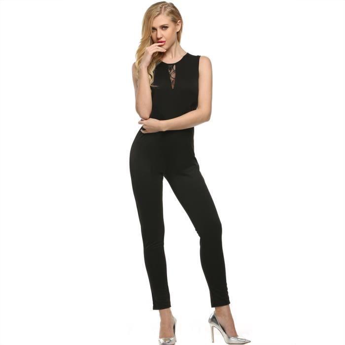 Meaneor combinaison pantalon femmes du soir e noir - Combinaison de soiree ...