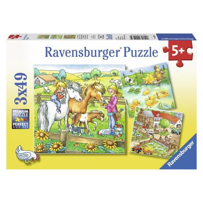 Puzzle animaux de la ferme 3x49pcs achat vente puzzle cdiscount - Cdiscount belgique ferme ...
