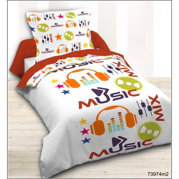 today housse de couette enfant 140x200cm 1 taie music. Black Bedroom Furniture Sets. Home Design Ideas