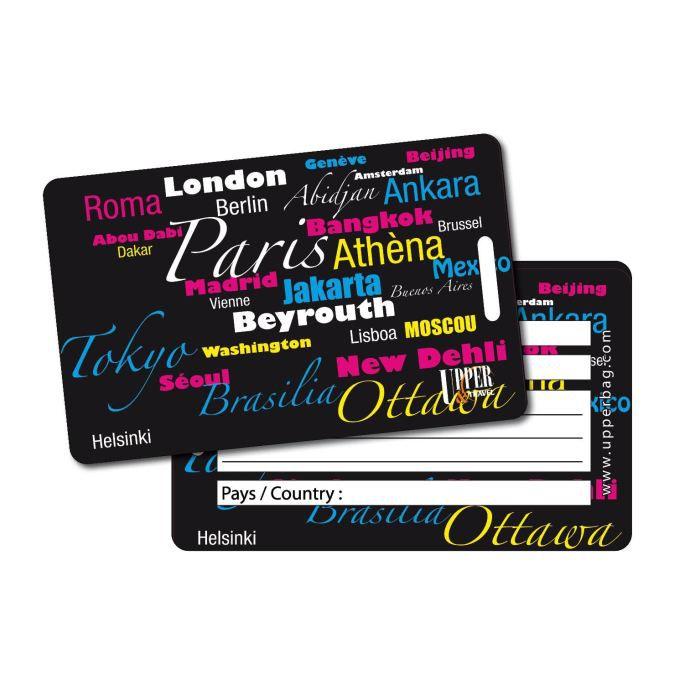 Etiquette bagage main cities black achat vente porte for 1 porte etiquette de voyage