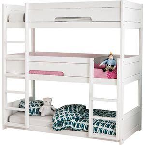 lit superpos triple bois 90x200 hermes blanc couleur. Black Bedroom Furniture Sets. Home Design Ideas