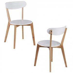 CHAISE DE BUREAU Ensemble de 2 chaises MDF blanc Chaises design en