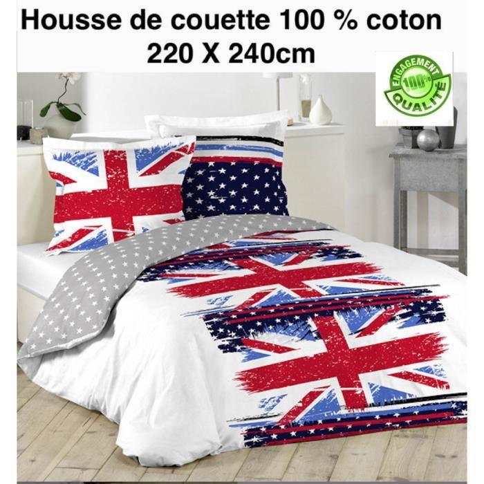 housse de couette london 220 x 240cm 2 taies 63 x 63cm 100 coton achat vente housse de. Black Bedroom Furniture Sets. Home Design Ideas