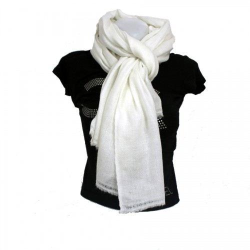 echarpe blanche pure pashmina achat vente echarpe. Black Bedroom Furniture Sets. Home Design Ideas