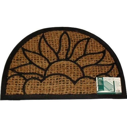 jvl paillasson en pvc caoutchouc fibre de coco en forme de demi lune en fibre de coco 40 x 60 cm