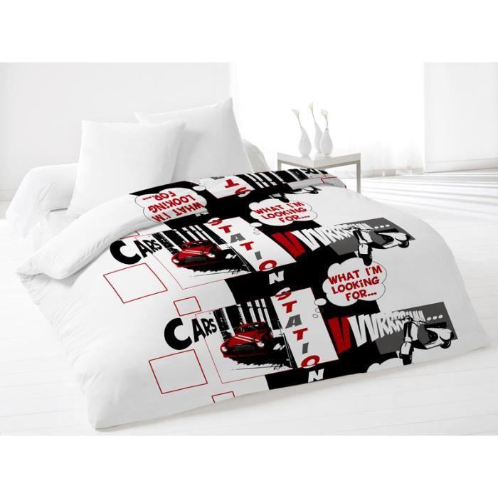 couette 220x240 cm station rouge. Black Bedroom Furniture Sets. Home Design Ideas