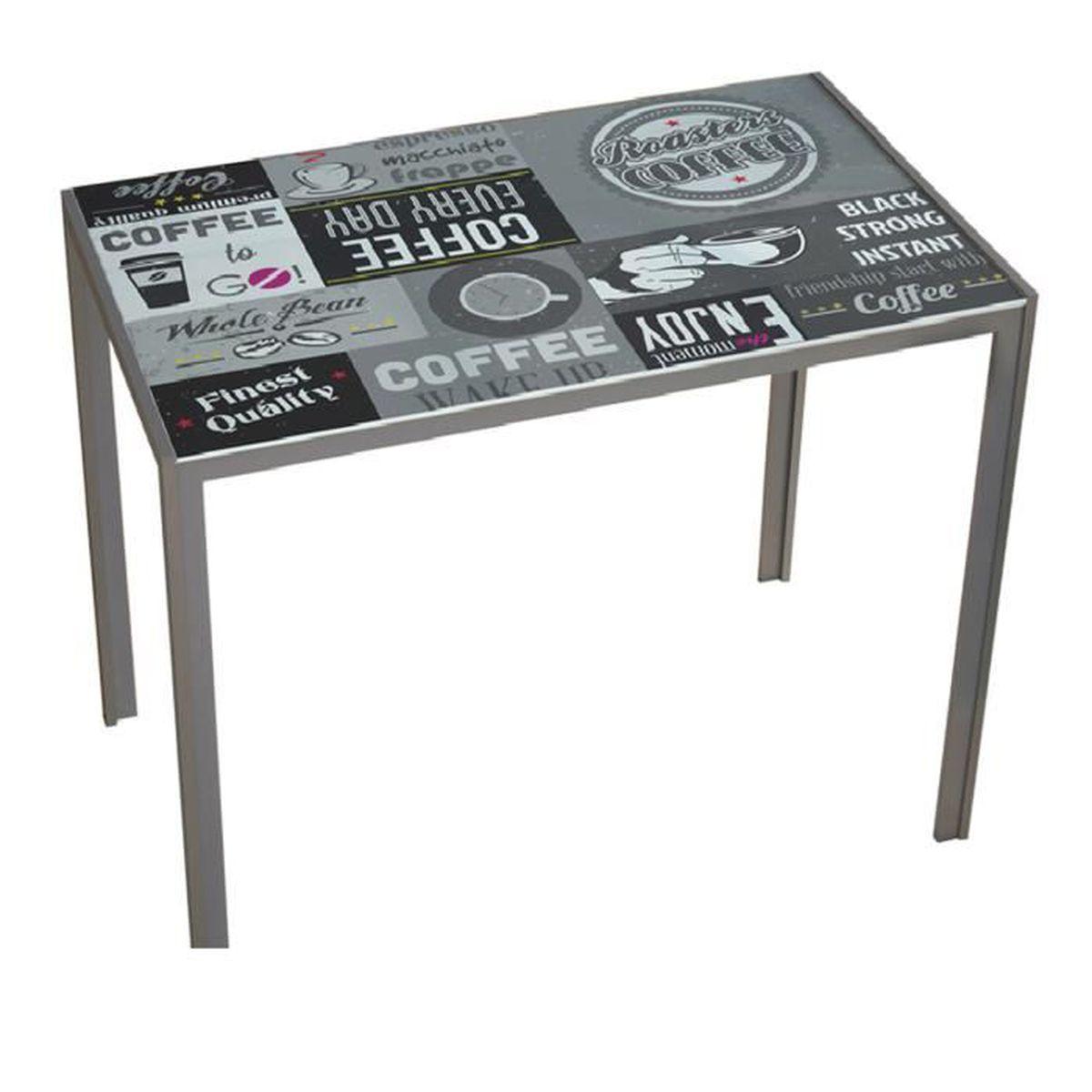 Table de salle manger coloris noir et gris dim 105 x for Salle a manger noir et gris